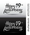 19 years anniversary lettering... | Shutterstock .eps vector #651251131