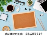 top view workspace mockup on...   Shutterstock . vector #651259819
