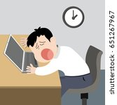 lazy worker man tired and sleep ...   Shutterstock .eps vector #651267967