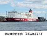 "Small photo of HELSINKI, FINLAND - AUGUST 28, 2016: Sea cruise ferry ""Mariella"" at the terminal of the company ""Viking Line"""
