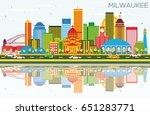 milwaukee skyline with color... | Shutterstock . vector #651283771
