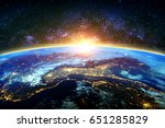 earth and galaxy. elements of...   Shutterstock . vector #651285829