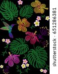 tropical embroidery flower... | Shutterstock .eps vector #651286381