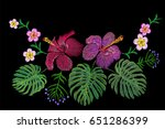 tropical embroidery flower... | Shutterstock .eps vector #651286399