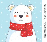 cute polar bear with red scarf... | Shutterstock .eps vector #651304525