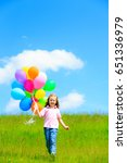 little girl with colorful... | Shutterstock . vector #651336979