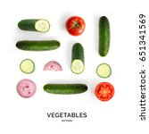 seamless pattern with cucumber  ... | Shutterstock . vector #651341569