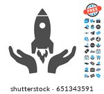rocket startup gray pictograph...