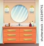 interior of beige bathroom with ... | Shutterstock .eps vector #651349741