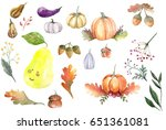 watercolor set of fall... | Shutterstock . vector #651361081