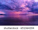 beautiful sunset reflected in... | Shutterstock . vector #651364204