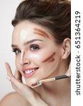 woman face makeup. closeup of...   Shutterstock . vector #651364219