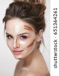beauty cosmetics. portrait of... | Shutterstock . vector #651364261