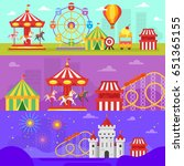 vector flat style set of... | Shutterstock .eps vector #651365155