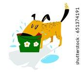 dog drinks. a sloppy dog drinks ... | Shutterstock .eps vector #651374191
