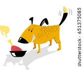 angry dog guards a bowl of food ...   Shutterstock .eps vector #651375085