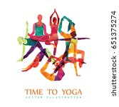yoga colorful fitness concept.... | Shutterstock .eps vector #651375274