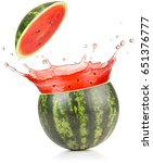 watermelon juice spilling out... | Shutterstock . vector #651376777