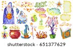 watercolor artistic collection... | Shutterstock . vector #651377629