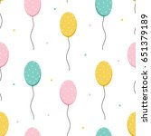 cute colorful balloons and dots ... | Shutterstock .eps vector #651379189