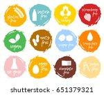 set of food labels   allergens  ... | Shutterstock . vector #651379321