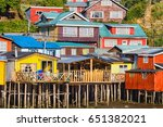 palafito houses on stilts in... | Shutterstock . vector #651382021