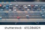aerial top view of bridge road... | Shutterstock . vector #651386824