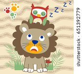 owl sleep on lions head  vector ... | Shutterstock .eps vector #651392779