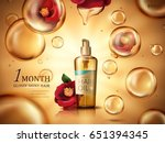 camellia hair oil contained in... | Shutterstock .eps vector #651394345
