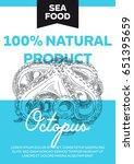 vector hand drawn sea food card.... | Shutterstock .eps vector #651395659
