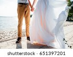 happy bride and groom on a... | Shutterstock . vector #651397201