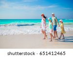 happy beautiful family on a... | Shutterstock . vector #651412465