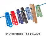 clothespins hang on a cord | Shutterstock . vector #65141305