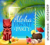 hawaiian party frame with tiki... | Shutterstock .eps vector #651414439
