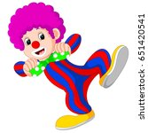 clown using big tie cartoon | Shutterstock . vector #651420541