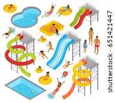 aqua park isometric icons set...   Shutterstock .eps vector #651421447