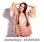 portrait of beautiful caucasian ...   Shutterstock . vector #651435265
