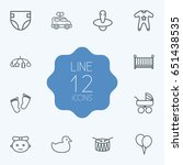 set of 12 baby outline icons... | Shutterstock .eps vector #651438535