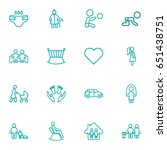 set of 16 people outline icons... | Shutterstock .eps vector #651438751