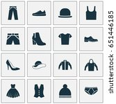 garment icons set. collection... | Shutterstock .eps vector #651446185