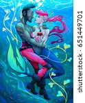 impossible. mermaid with pirate ... | Shutterstock .eps vector #651449701