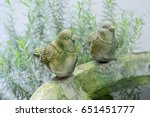 Birdbath With Cute Cement Bird...