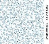 social media blue seamless... | Shutterstock .eps vector #651455359
