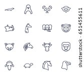 set of 16 zoology outline icons ... | Shutterstock .eps vector #651455611