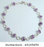 amethyst necklace - stock photo
