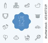 set of 12 baby outline icons... | Shutterstock .eps vector #651457219