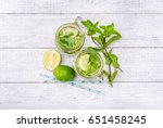 lime and mint detox water . | Shutterstock . vector #651458245