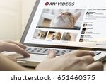 online video concept  man using ... | Shutterstock . vector #651460375