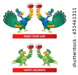 a pair of peacocks and a pair...   Shutterstock .eps vector #651461311