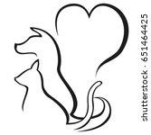 pet caring outline logo | Shutterstock .eps vector #651464425